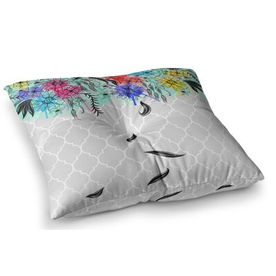Watercolor Spring by Famenxt Floor Pillow Size: 26 x 26
