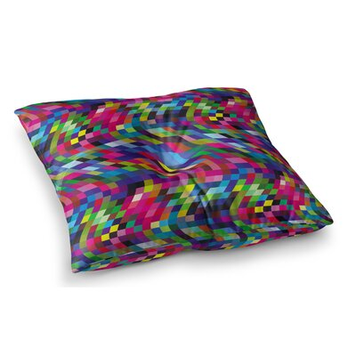 Colorful Geometric Movement by Dawid Roc Floor Pillow Size: 26 x 26, Color: Multi