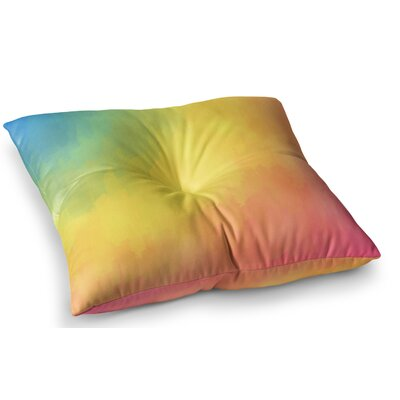 Watercolor Layers Rainbow by Fotios Pavlopoulos Floor Pillow Size: 23 x 23