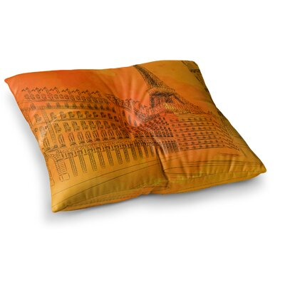 Parisian Sunsets City by Fotios Pavlopoulos Floor Pillow Size: 26 x 26