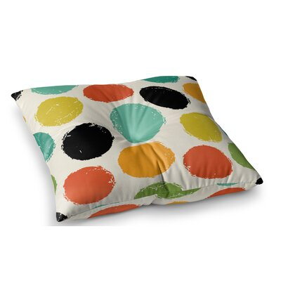 Retro Dots Circles by Daisy Beatrice Floor Pillow Size: 26 x 26