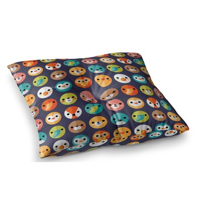 Smiley Faces Repeat Animal by Daisy Beatrice Floor Pillow Size: 23 x 23