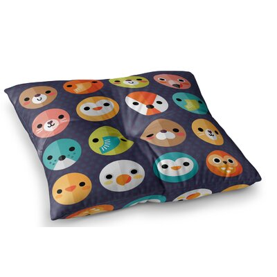 Smiley Faces Animals by Daisy Beatrice Floor Pillow Size: 23 x 23