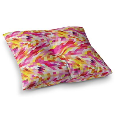 Colorful Geometric Movement by Dawid Roc Floor Pillow Size: 23 x 23, Color: Yellow/Pink/Red