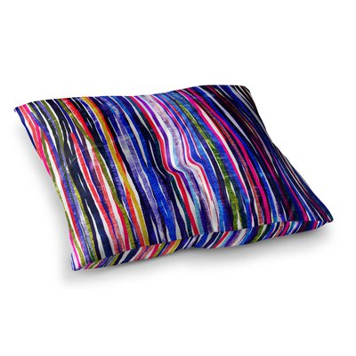 Fancy Stripes by Frederic Levy-Hadida Floor Pillow Size: 26 x 26, Color: Dark Rainbow/Purple