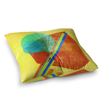 Landing Mixed Media Geometric by Frederic Levy-Hadida Floor Pillow Size: 26 x 26