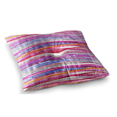 Fancy Stripes by Frederic Levy-Hadida Floor Pillow Size: 23 x 23, Color: Pink/Orange