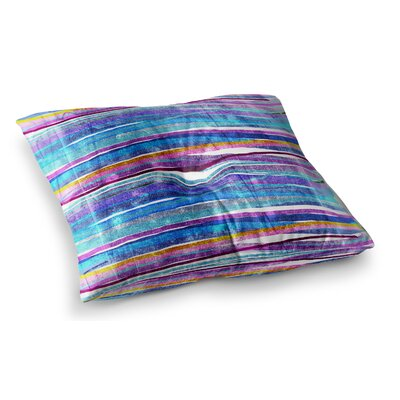Fancy Stripes by Frederic Levy-Hadida Floor Pillow Size: 26 x 26, Color: Red/Blue