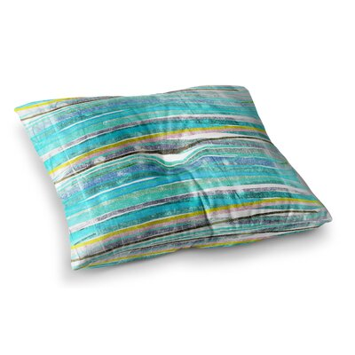 Fancy Stripes by Frederic Levy-Hadida Floor Pillow Size: 26 x 26, Color: Aqua
