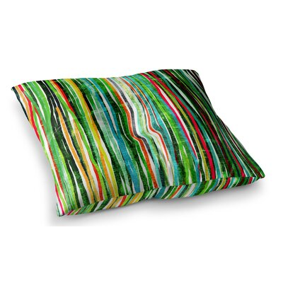 Fancy Stripes by Frederic Levy-Hadida Floor Pillow Size: 26 x 26, Color: Green