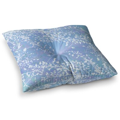 Twigs Silhouette by Iris Lehnhardt Floor Pillow Size: 23 x 23, Color: Aqua/Blue