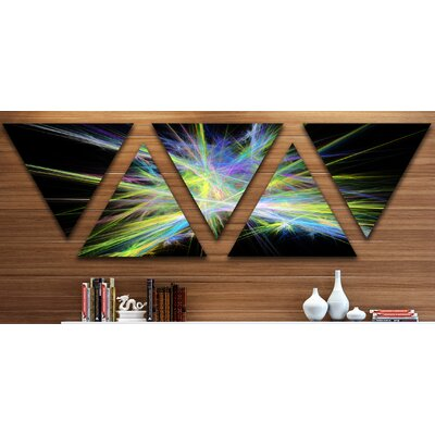 'Yellow Blue Chaos Multicoloured Rays' 5 Piece Graphic Art Print Set on Canvas ESTQ2746 40883029