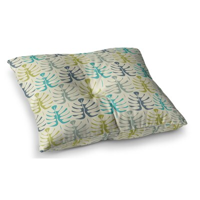 My Leaves by Julia Grifol Floor Pillow Size: 23 x 23, Color: Teal/Green
