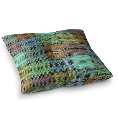 The Patchwork Tartan by Ebi Emporium Floor Pillow Size: 26 x 26, Color: Teal/Aqua
