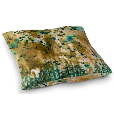 Were Better Together Mixed Media by Ebi Emporium Floor Pillow Size: 23 x 23, Color: Tan/Teal