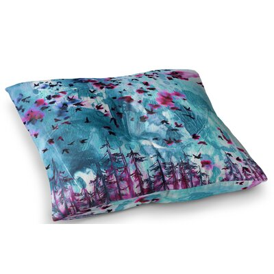 Were Better Together Mixed Media by Ebi Emporium Floor Pillow Size: 23 x 23, Color: Magenta/Blue