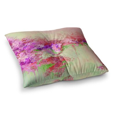 When Land Met Sky by Ebi Emporium Floor Pillow Size: 26 x 26, Color: Pink/Green