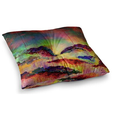 Its a Rose Colored Life by Ebi Emporium Floor Pillow Size: 23 x 23, Color: Red/Yellow/Blue