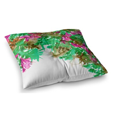 Floral Cascade by Ebi Emporium Floor Pillow Size: 23 x 23, Color: Red/Teal/Green