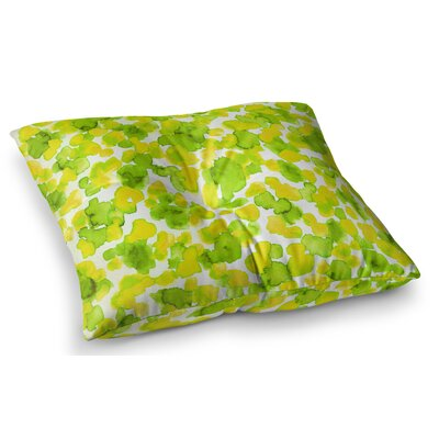 Giraffe Spots by Ebi Emporium Floor Pillow Size: 23 x 23, Color: Green/Yellow