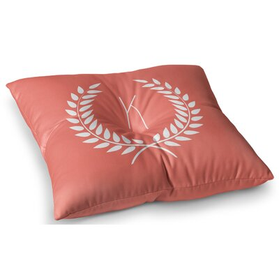 Coral Wreath Monogram Floor Pillow Size: 26 x 26