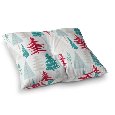Happy Forest Floor Pillow Size: 26 x 26, Color: Red/Blue