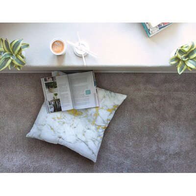 Gold Flake Marble Metal Square Floor Pillow Size: 26 x 26
