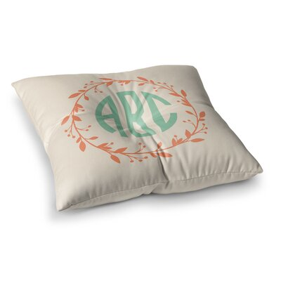 Classic Wreath Monogram Typography Square Floor Pillow Size: 26 x 26, Color: Cream
