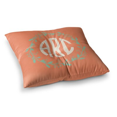 Classic Wreath Monogram Typography Square Floor Pillow Size: 23 x 23, Color: Orange