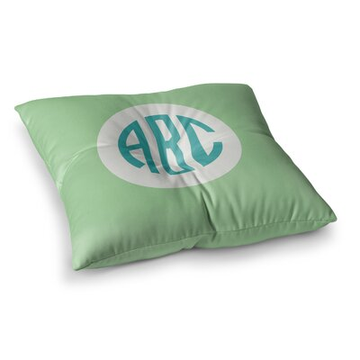 Classic Circle Monogram Digital Illustration Square Floor Pillow Size: 23 x 23, Color: Green