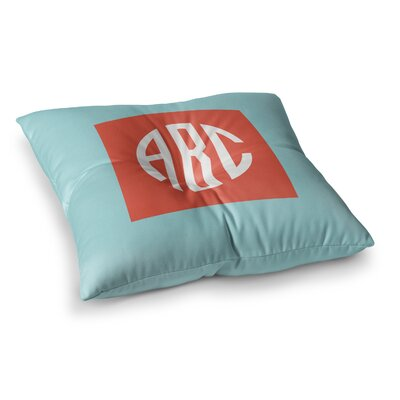 Classic Monogram Square Floor Pillow Size: 26 x 26, Color: Teal