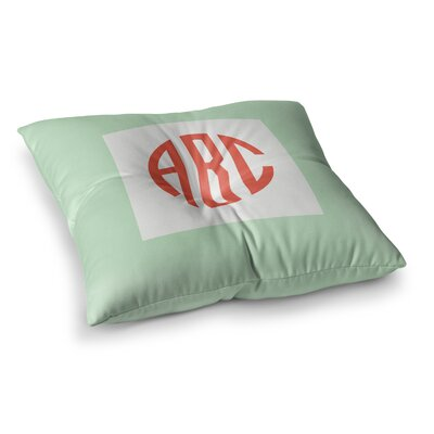 Classic Monogram Square Floor Pillow Size: 26 x 26, Color: Green
