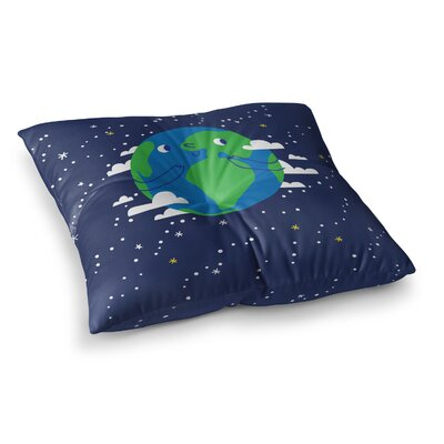 Happy Earth Square Floor Pillow Size: 26 x 26