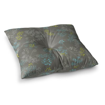 Laurie Baars Ferns Vines Maroon Floral Square Floor Pillow Size: 23 x 23, Color: Green