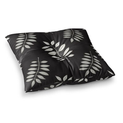 Laurie Baars Pagoda Leaf Floral Illustration Square Floor Pillow Size: 23 x 23, Color: Black
