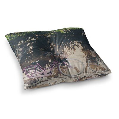 Laura Evans Pretty Bicycles Square Floor Pillow Size: 26 x 26