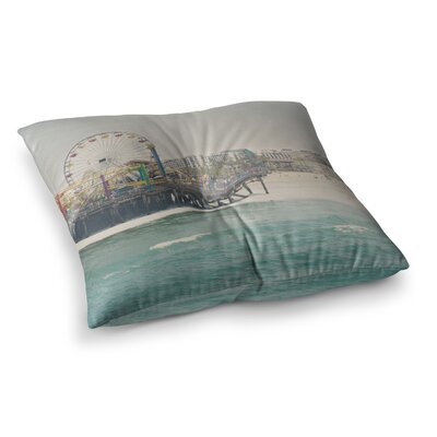Laura Evans The Pier at Santa Monica Coastal Square Floor Pillow Size: 26 x 26