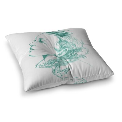 Lydia Martin Queen of the Sea Square Floor Pillow Size: 26 x 26, Color: Green