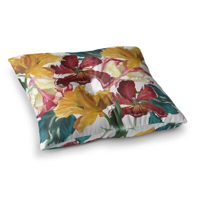 Lydia Martin Flower Power Floral Rainbow Square Floor Pillow Size: 26 x 26