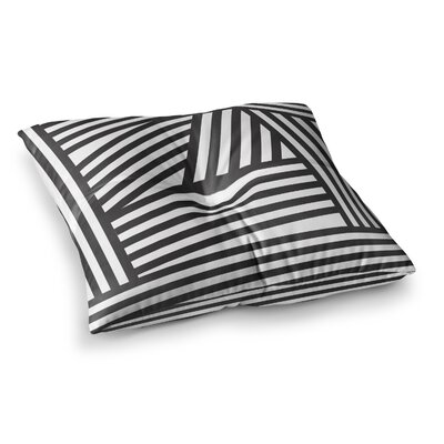 Louise Machado Stripes Square Floor Pillow Size: 23 x 23, Color: Black