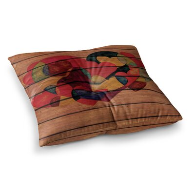 Louise Machado Wooden Heart Square Floor Pillow Size: 26 x 26
