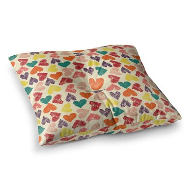 Louise Machado Little Hearts Square Floor Pillow Size: 26 x 26