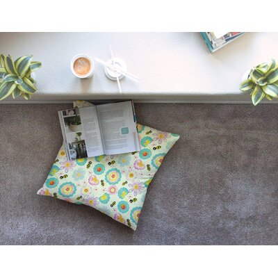 Louise Machado Floral Bee Square Floor Pillow Size: 23 x 23