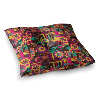 Louise Machado Arabesque Floral Square Floor Pillow Size: 26 x 26