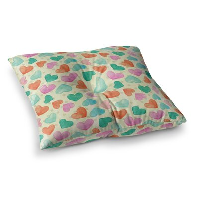 Louise Machado Watercolor Hearts Square Floor Pillow Size: 26 x 26