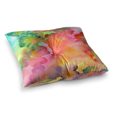 Louise Machado Spring Colors Watercolor Floral Square Floor Pillow Size: 26 x 26