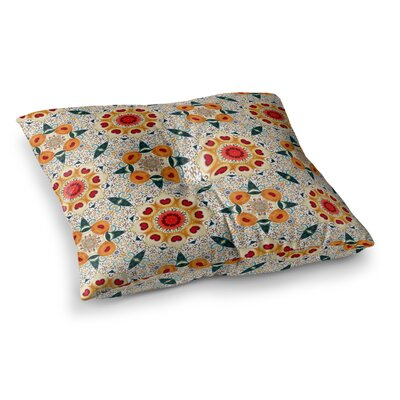 Laura Nicholson Peach Heart Square Floor Pillow Size: 23 x 23