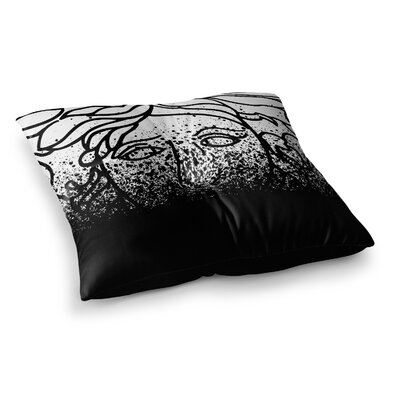 Just L Versus Spray Abstract Illustration Square Floor Pillow Size: 26 x 26, Color: Black/White