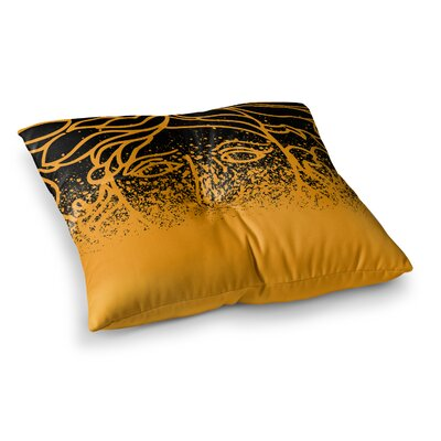 Just L Versus Spray Abstract Illustration Square Floor Pillow Size: 26 x 26, Color: Black/Yellow