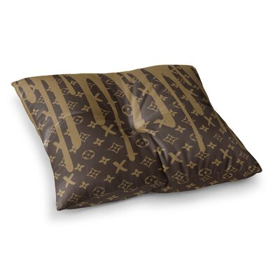 Just L LX Drip Illustration Square Floor Pillow Size: 26 x 26, Color: Brown